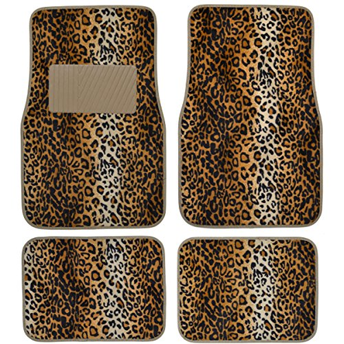 BDK Carpeted 4 Piece Mat Leopard Animal Print Auto Car Vehicle Universal Fit (Carpeted 4 Piece Mat)