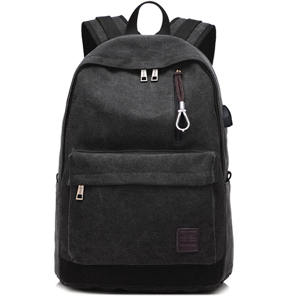 15080e082b29 Amazon.com: Canvas Backpack with USB Charging Port for School ...