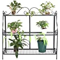 Lovinland 3 Tier Folding Storage Shelf Metal Plant Stand