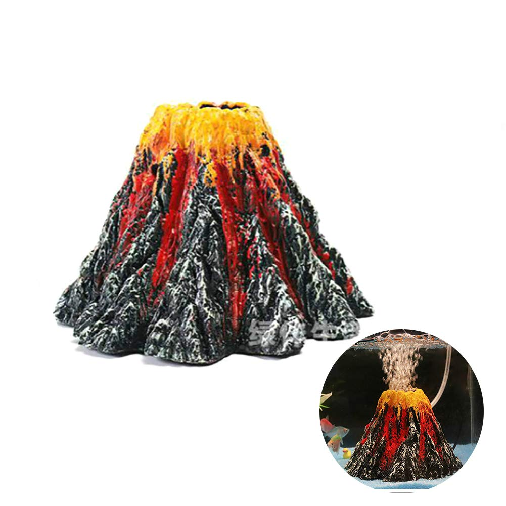 Rocita Aquarium Volcano Air Stone Bubbler Oxygen Pump Resin Crafts Ornament for Fish Tank Decorations(Air Pump is Not Included)