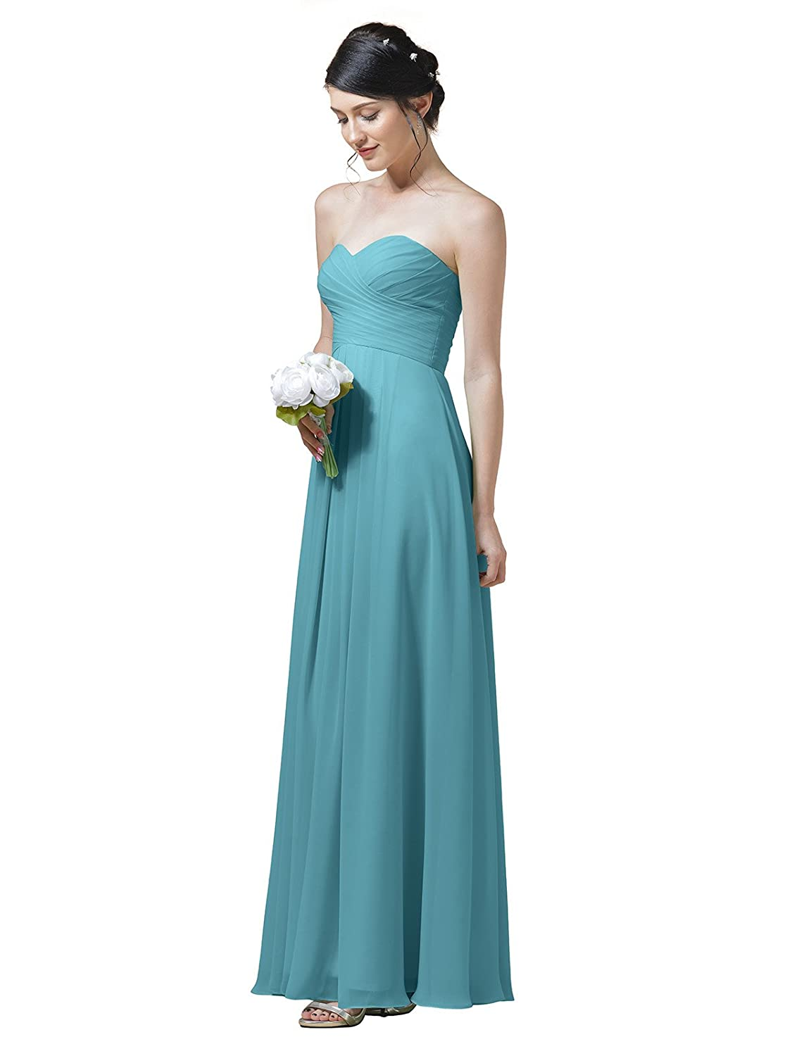 adcbe54b0a31 A-Line chiffon dress, sweetheart neckline, strapless, long simple gown,  suitable for Wedding Party Prom Homecoming or ...