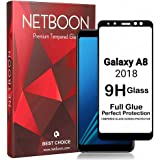 NETBOON Samsung Galaxy A8 (2018) 3D Full Glue Tempered Glass Screen Protector Anti Scratch Bubble Free 9H Hardness 0.22mm Gorilla Glass Samsung A8 2018 - Black