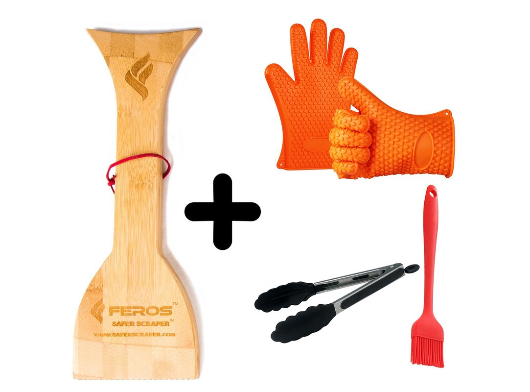 FEROS KIT ñ (4 Items!) Safer Scraper Wood BBQ Wooden Grill Cleaner and Silicone BBQ Gloves, Tongs, and Basting Brush for BBQ, Oven, Grill, Cooking, Baking, Frying