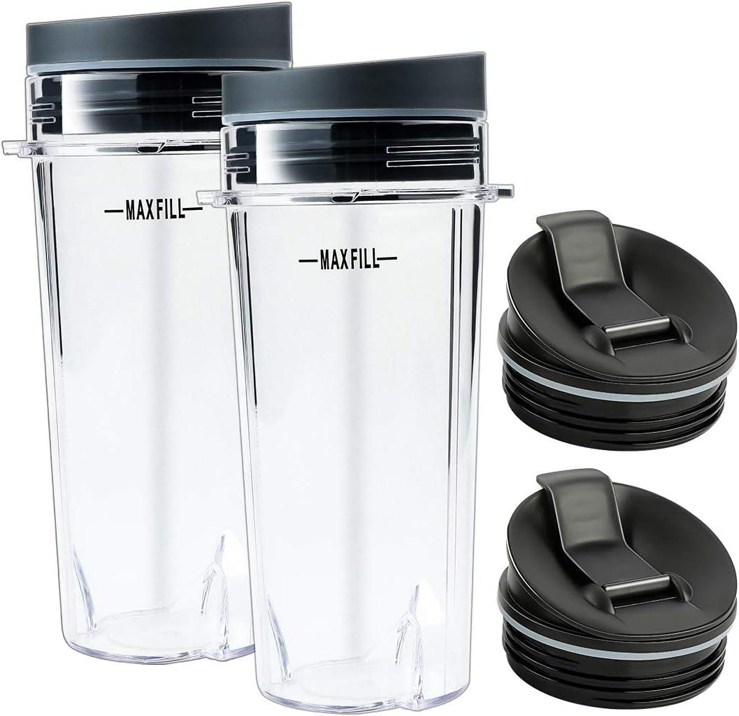 Livtor 16 Oz Single Serve Cups with Sip Lids & Seal Lids, Compatible with Nutri Ninja BL660 BL740 BL770 BL780 BL810 Series Blenders(2 Packs)