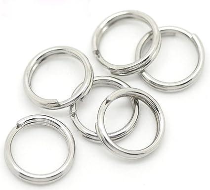 Valyria - Argollas abiertas de acero inoxidable para llavero (7 x 0,7 mm, 100 unidades)