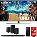 "Samsung UN55NU8000 55"" NU8000 Smart 4K UHD TV (2018) with SAMSUNG HW-N550/ZA 3.1 Channel Soundbar System and SWA-8500S/ZA Wireless Rear Speakers Kit 1 Year Warranty Bundle"