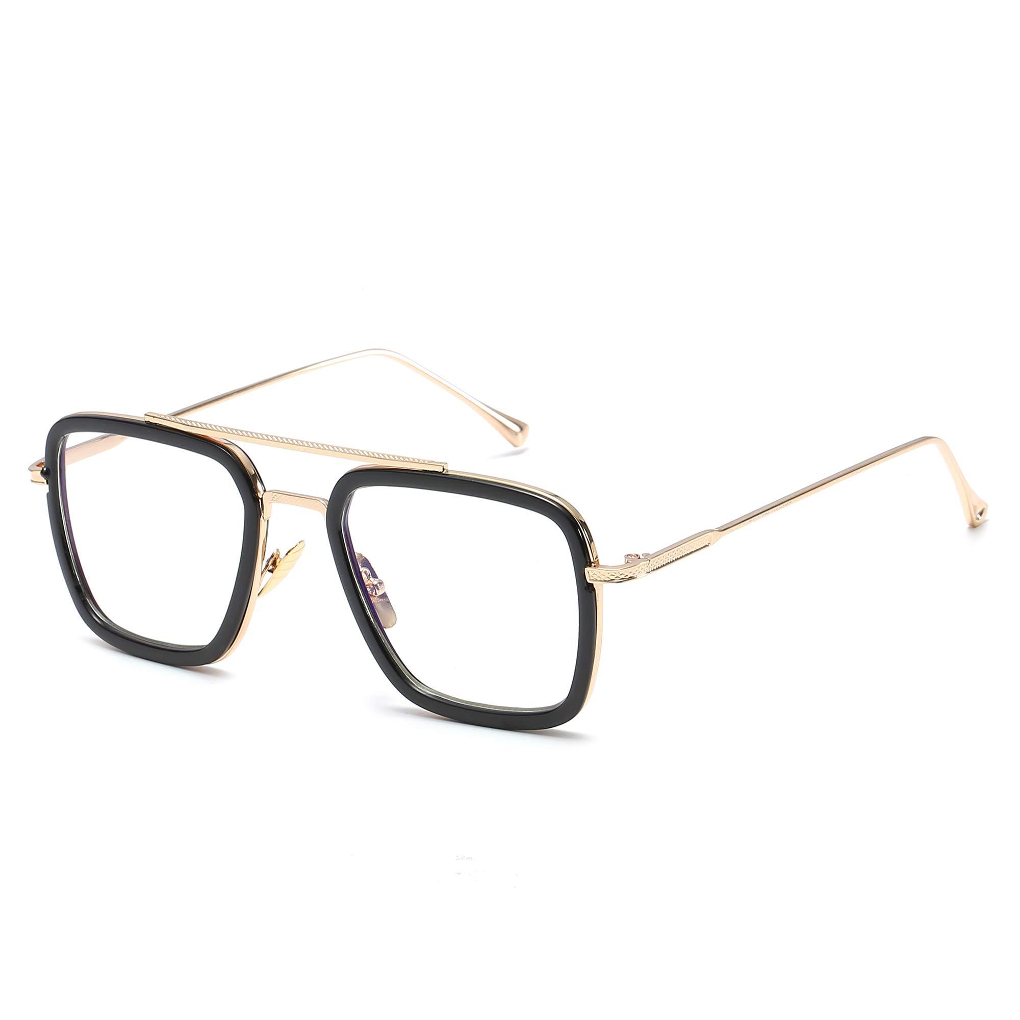 Retro Aviator Sunglasses for Men Women Square Metal Classic Sun Glasses Designer Shades (Black Frame/Transparent Lens) by GOBIGER