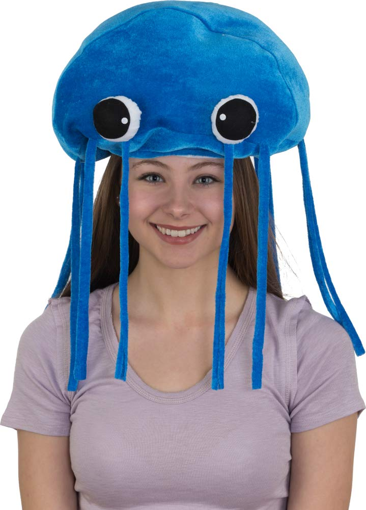 Plush Blue Jellyfish Hat Costume Accessory by Block Buster Costumes (Image #1)