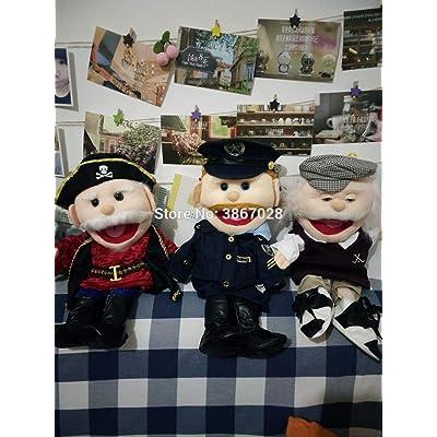 LIZHIOO Marioneta Policía Capitán Pirata Marioneta Peluches Marionetas de Peluche Ventrílocuo Marionetas de Mano Niños Niños Juguetes 40cm ( Color : Old Man ): Juguetes y juegos