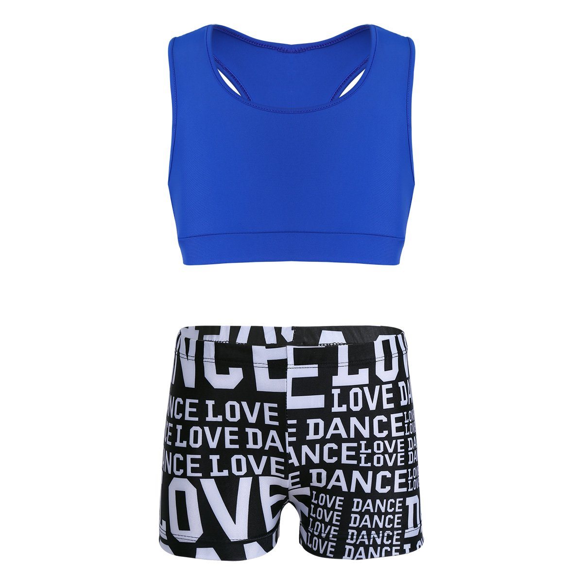 YiZYiF Child Girls 2-Piece Tank Top with Love Dance Bottoms set for Gymnastics Dance Gym Sports Blue 5-6