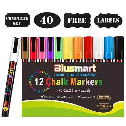 Rotuladores para pizarra, Blusmart 12 Llamativos Colores con 40 Etiquetas reusables, Punta Reversibles 6mm+3mm, para Superficies no Porosas-Pizarra, ...