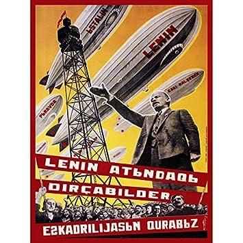PROPAGANDA POLITICAL SOVIET UNION LENIN AIRSHIP FLEET 18x24 ...