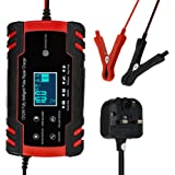 Decdeal 12V 24V Pulse Repairing Charger with LCD Display Motorcycle & Car Battery Charger AGM GEL WET Lead Acid Battery…