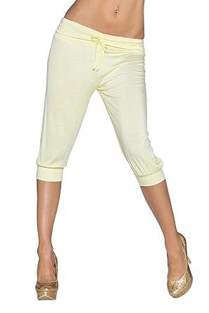 Fashion Damen Jersey Capri Hose 3 4 lange Shorts leicht luftig Freizeit  Sommer Strand 32 e797b9c835