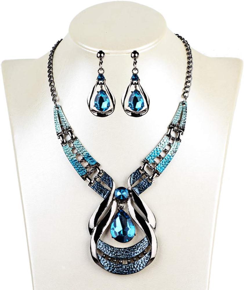 LTLWL Conjunto de Joyas, Exóticos Pendientes de Collar de Piedras Preciosas Azules Vintage Cadena de Clavícula