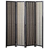 MyGift 4 Woven Panel Room Divider with Aztec Geometric Design