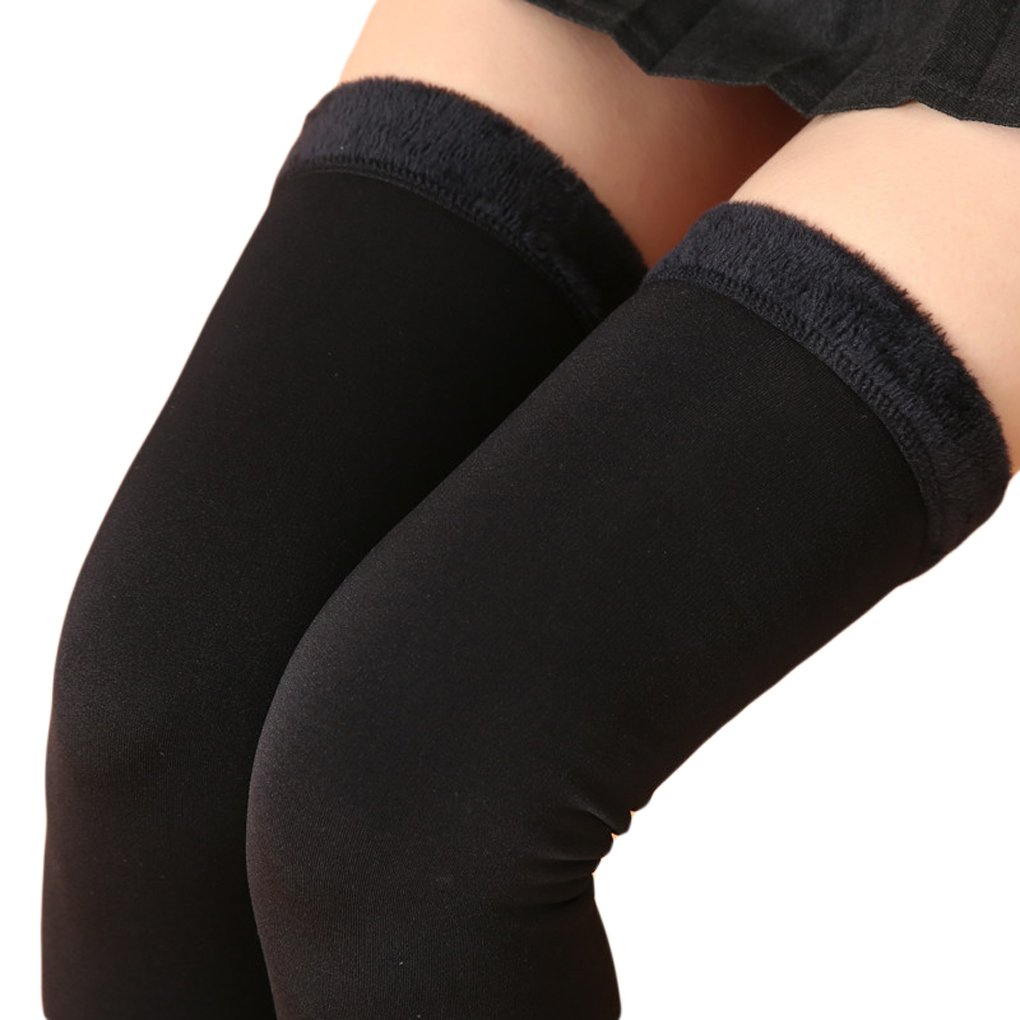 Romastory Womens Over Knee Leg Warmers Winter Thick Fleece Lined Elastic Socks Tights