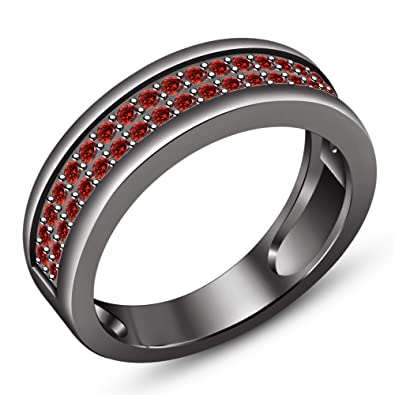 TVS JEWELS Black Rhodium Plated 925 Silver Round Cut Red Garnet Stone Band Engagement Ring