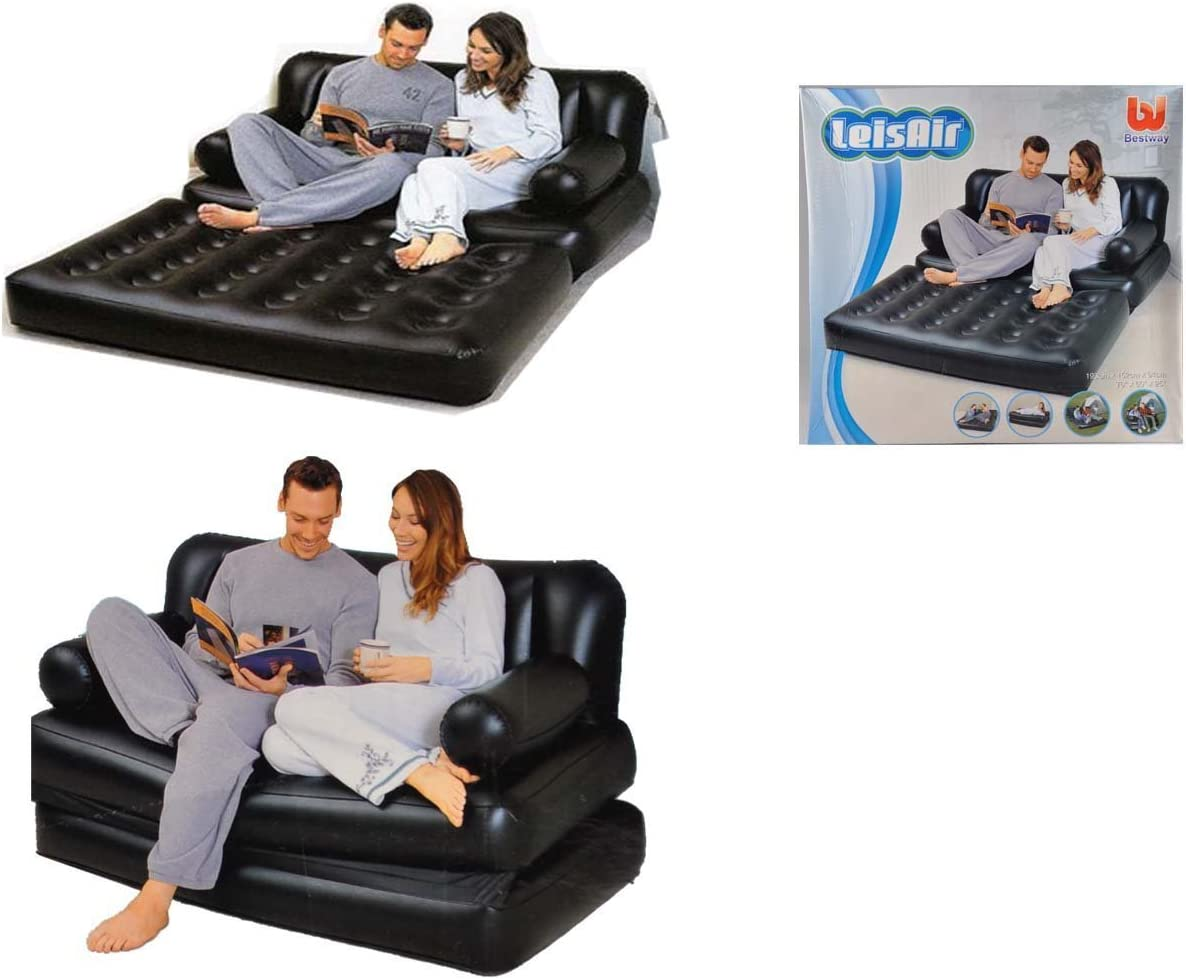 BESTWAY LEISAIR INFLATABLE 5 IN 1 DOUBLE//SINGLE SOFA AIR BED COUCH WITH PUMP