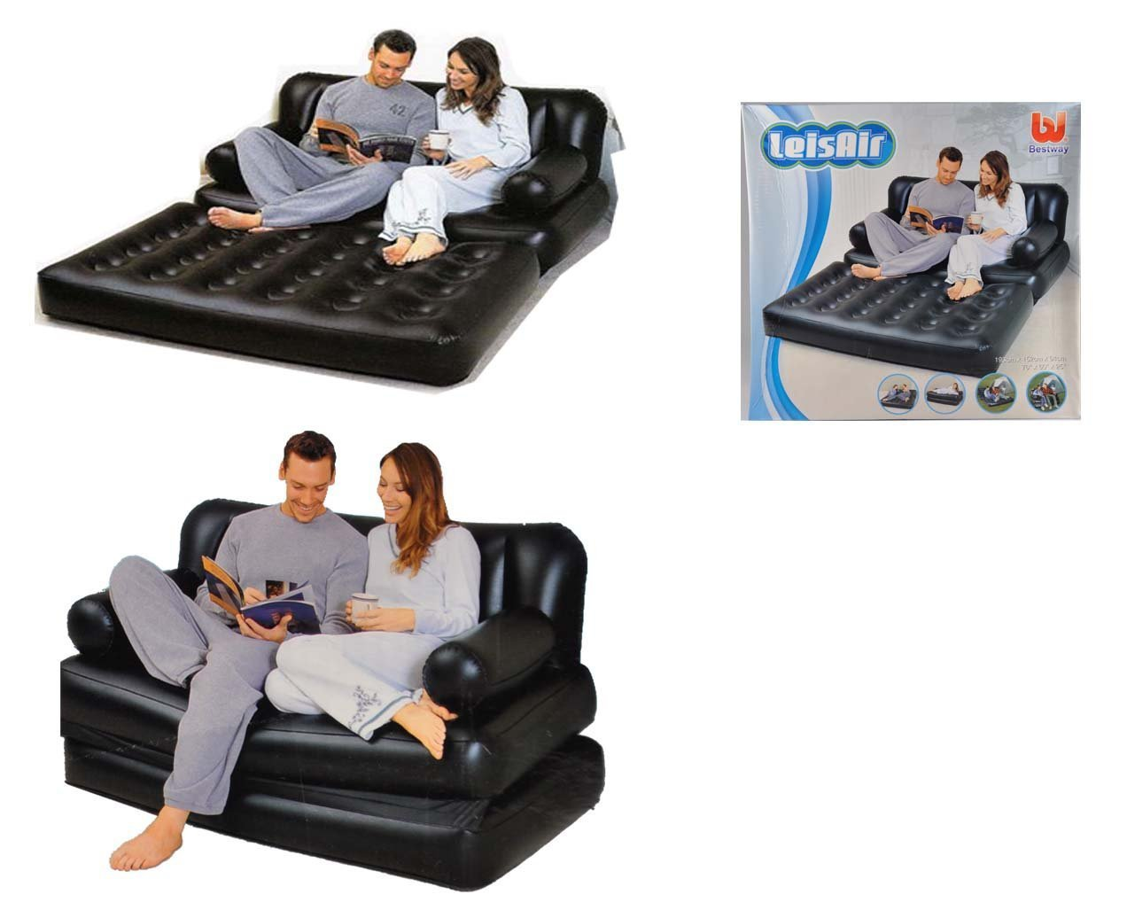 Leisair inflatable sofa bed 5 in 1 with pump for Sofa bed 5 in 1