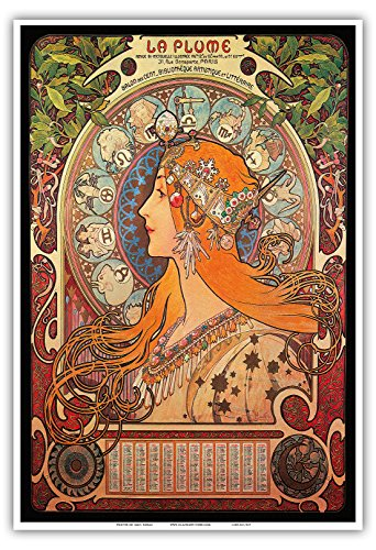 "Calendar La Plume (The Feather), Salon des Cent- Art Nouveau - La Belle Époque- ""Les Maitres de l'Affiche""- Art Deco- Vintage French Advertising Poster by Alphonse Mucha ca.1897 - Master Art Print - 13in x 19in"