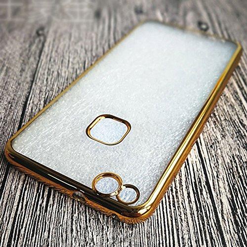 """Huawei P10 Lite (5.2"""") Hülle, MSVII® Durchsichtig Weich TPU Silikon Bumper Hülle Schutzhülle Case Und Displayschutzfolie für Huawei P10 Lite (5.2"""") - Gold JY60002"""