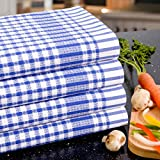 Poyet Motte Timex Oversized 19-by-32 Inch Professional Grade 100-Percent Cotton Kitchen Towel, 4-Pack (Blue Stripe)
