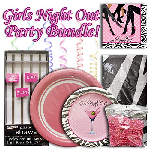 Girls Night Out Decorations (Girls Night Out Bundle, Includes: 2 Packs of Plates, 2 Packs of Napkins, 1 Pack of Party Time Straws, and 1 Pack of Party)