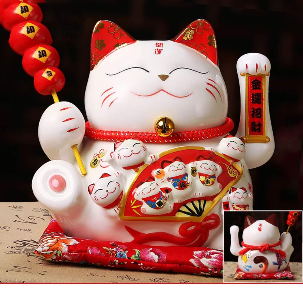 GE&YOBBY Ceramic Piggy Bank,Maneki Neko Lucky Cat Piggy Bank with Electrical Waving Hands Japanese Saving Box with Seat Cushion for Home Restaurant Gift-g 31x20x26cm(12x8x10inch)