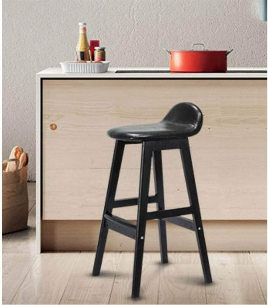 Faux Leather Seat Breakfast Kitchen Counter Chairs Bar Stools Wood Legs Barstools High Stools 95 (Color : White) Black