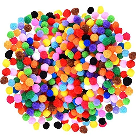 2000 Pieces mini 1cm Diameter Colorful Assorted Pompoms for Craft Making Hobby Supplies - Craft and Hobby Supplies