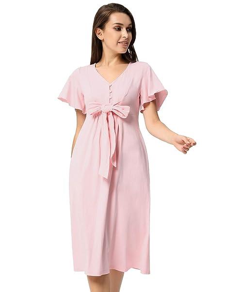 5aedabee1 GRACE KARIN Vestido Premamá para Mujeres Embarazadas Mangas Cortas Cuello V  Maternidad S CL737-2