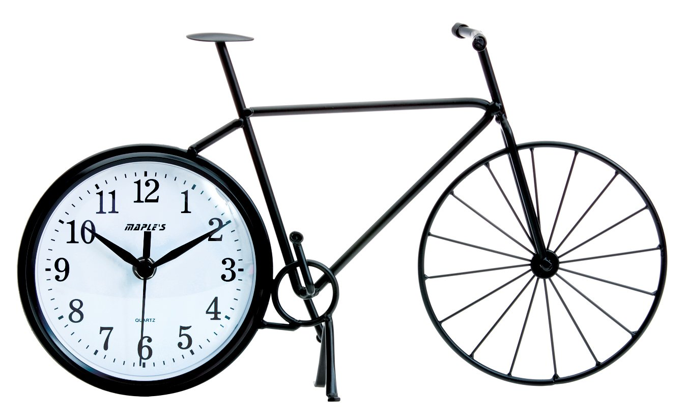 Maple's Bicycle Silhouette Table Clock - Sturdy Wrought Iron Construction Bicycle Silhouette Easy to Read Face - clocks, bedroom-decor, bedroom - 61f9rlOtF9L -