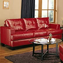 Samuel Collection Sofa In 100% Red Bonded Leather