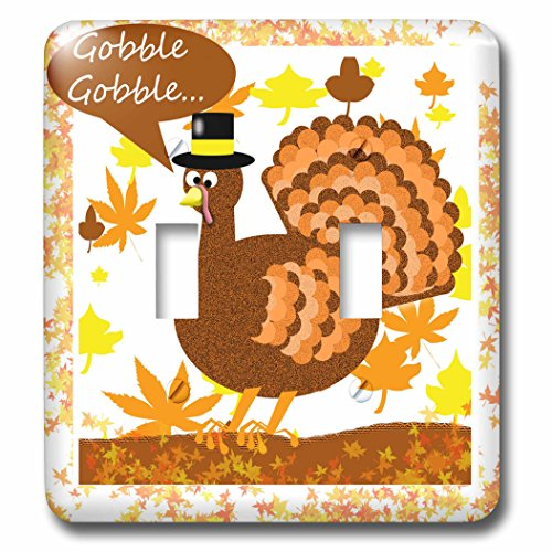 3dRose Dawn Gagnon Photography Holiday Designs - Thanksgiving greeting with Turkey - Light Switch Covers - double toggle switch (Greeting Turkey)