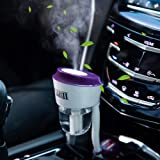 Car Humidifier Essential Oil Diffuser with Dual USB Charger Adapter, Portable Waterless Auto Shut-Off Air Refresher for Vehicle Automobile Gift (Purple)