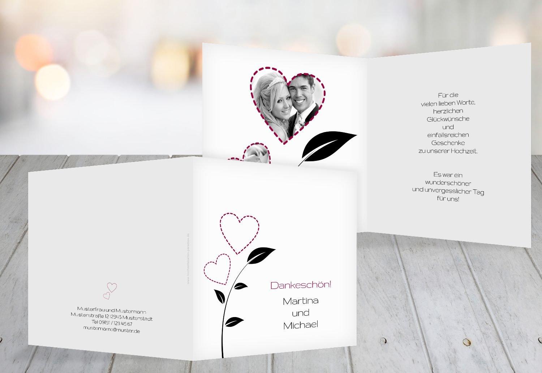 Kartenparadies Danksagung für Hochzeitsgeschenke Hochzeit Dankeskarte HerzBlaume, hochwertige Danksagungskarte Hochzeitsglückwünsche inklusive Umschläge   20 Karten - (Format  145x145 mm) Farbe  RosaRosa B01NBWUHHU   Förderung    Mode