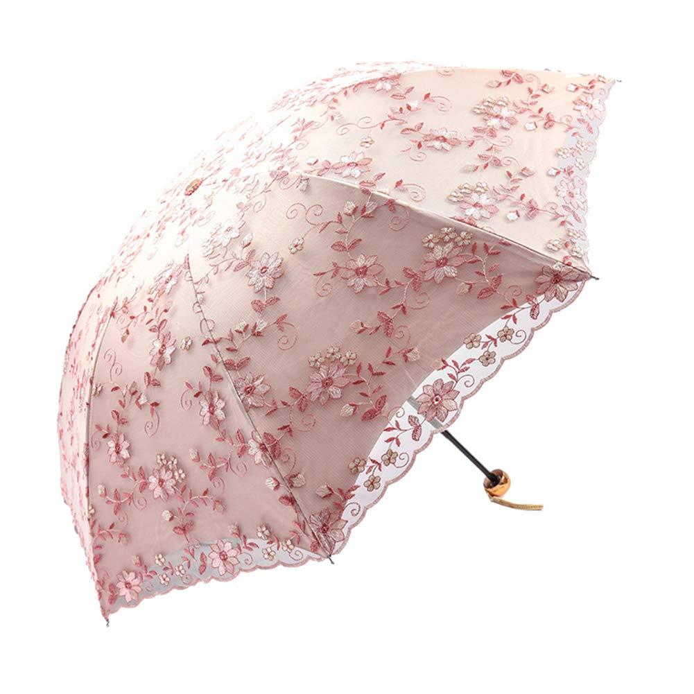 Honeystore Embroidery Lace Flower Princess Sun Rain Umbrella Decorative Parasol 04Pink
