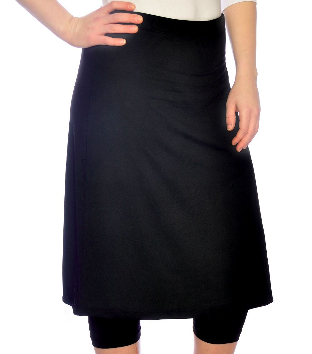 Kosher Casual Women's Modest Knee Length Sports Skirt With Leggings 18 Black