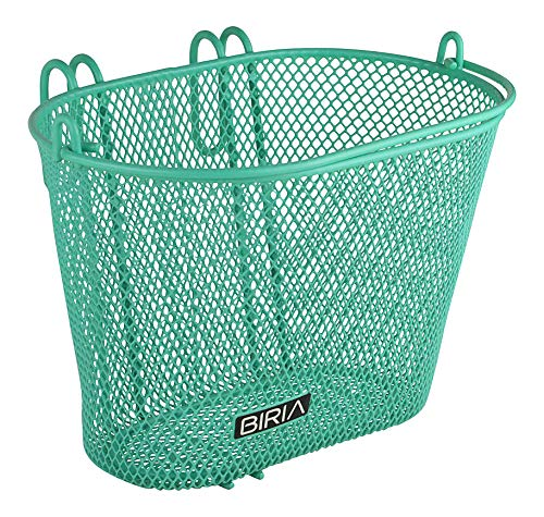(Biria Basket with Hooks Green, Front, Removable, Children Wire mesh Small Kids Bicycle Basket, New, Green)
