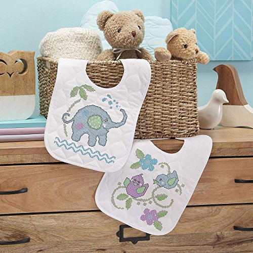 Baby by Herrschners Pre-Quilted Elephant Friends Baby Bibs Stamped Cross-Stitch (Stamped Cross Stitch Quilted Bibs)