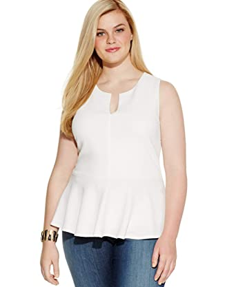 Soprano Womens Plus Size Textured Peplum Top (White, 1X) at ...