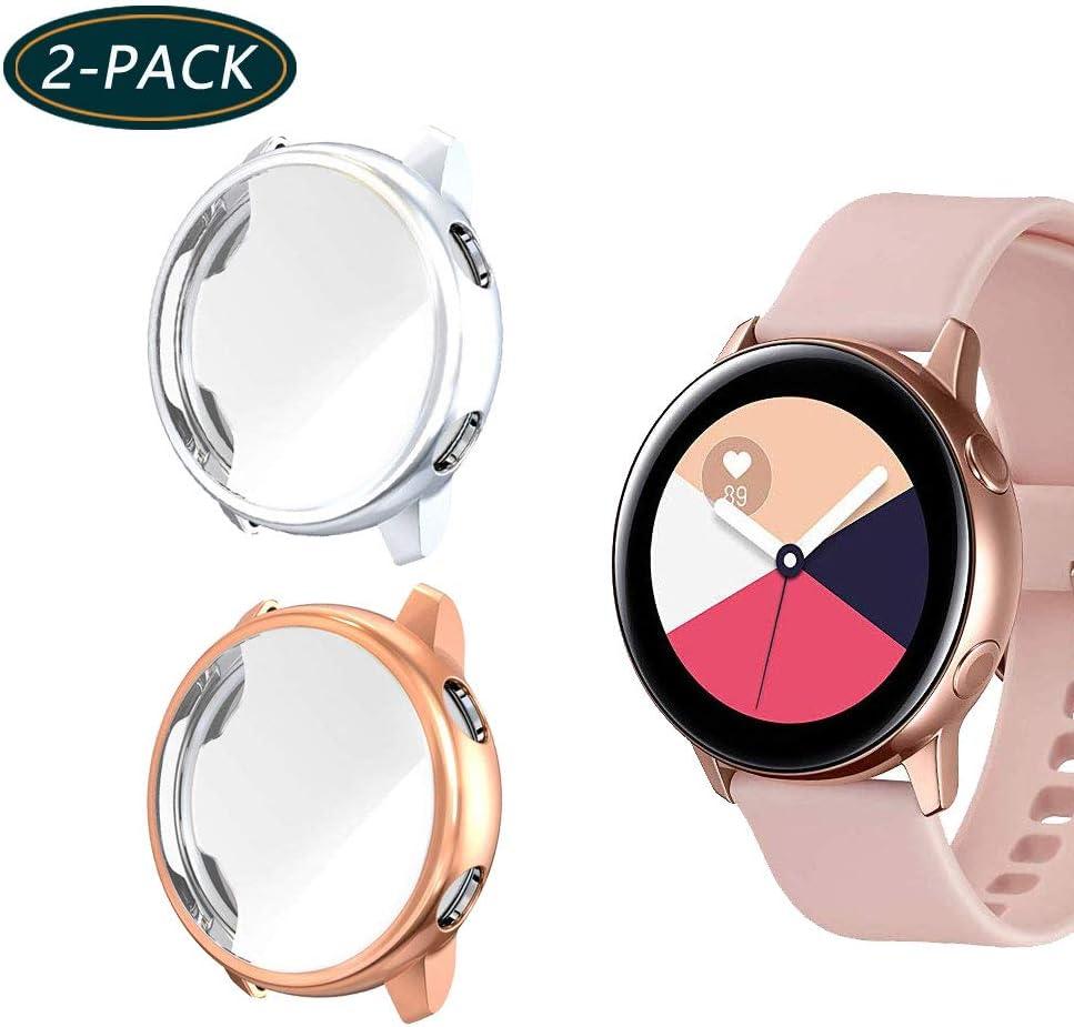 Jvchengxi Funda Protectora para Galaxy Watch Active, Cubierta Protectora de Marco a los rasguños TPU Protector de Pantalla de Cobertura Total para Galaxy Watch Active40mm(Plata/Oro Rosa)