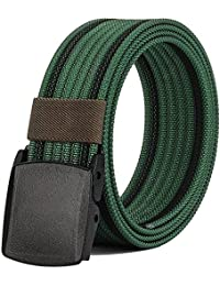 "Nylon Belts Men, Military Tactical Belt with YKK Plastic Buckle, Durable Breathable for Outdoor Duty [53""Long1.5..."