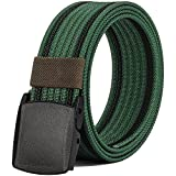 Nylon Belts for Men, Military Tactical Belt with YKK Plastic Buckle, Durable Breathable Canvas Belt for Work Outdoor Sports,Adjustable for Pants Size Below 46inches[53''Long1.5''Wide] (Green & Black)
