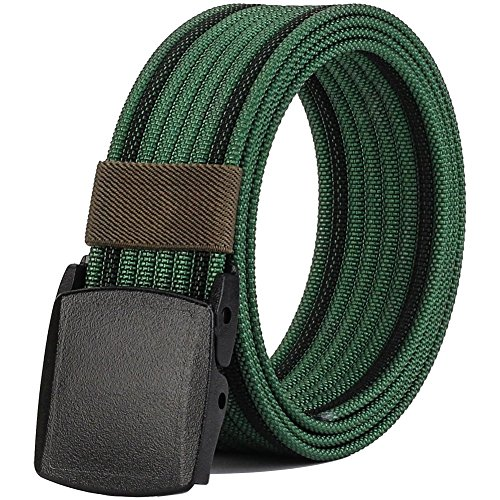 Nylon Belts for Men, Military Tactical Belt with YKK Plastic Buckle, Durable Breathable Canvas Belt for Work Outdoor Sports,Adjustable for Pants Size Below 46inches[53