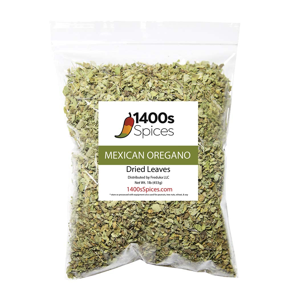1lb Dried Mexican Oregano Food Service Size. Perfect for Taco Seasoning, Mexican Food, Tamales, Meats, Enchiladas, Cheese, Salads. Rich Flavor Spices for Mexican Recipes