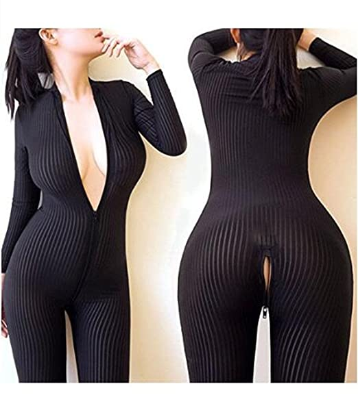 9329968f575 Jiuhexu New Open Crotch Striped Sheer Body Stocking Bodysuit Sexy Lingerie  for Women Smooth Fiber Double