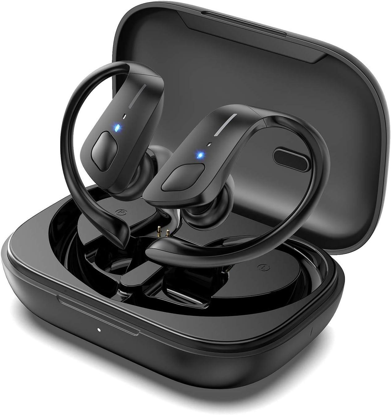 HolyHigh Auriculares Inalambricos Deportivos, Auriculares Bluetooth con Microfono IPX7 Impermeable, Auriculares Inalámbricos con 30+5H Caja de Carga Running para iOS Android