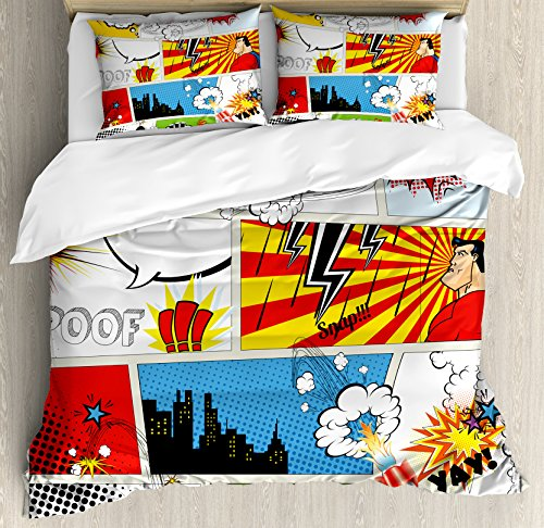 Ambesonne Superhero Duvet Cover Set, Comics Template Fiction Fantasy Retro Speech Bubbles Expressions Effects Print, Decorative 3 Piece Bedding Set with 2 Pillow Shams, King Size, Yellow Red